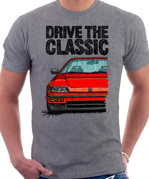 Drive The Classic Honda CRX Si 2nd Gen. T-shirt in Heather Grey Color.