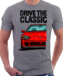 Drive The Classic Honda Del Sol CRX Late Model. T-shirt in Heather Grey Color.