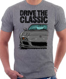 Drive The Classic Mazda RX7 FD Late Model. T-shirt in Heather Grey Color