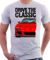 Drive The Classic Mazda RX7 FD Late Model. T-shirt in White Color