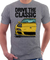 Drive The Classic Mazda RX7 FD Late Model Lights Open. T-shirt in Heather Grey Color