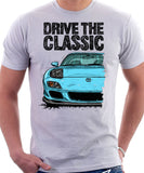 Drive The Classic Mazda RX7 FD Late Model Lights Open. T-shirt in White Color