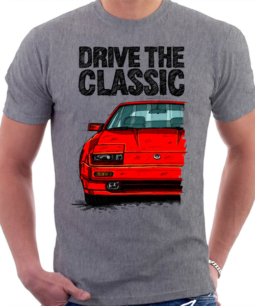 Drive The Classic Nissan 300ZX Z31 Late Model. T-shirt in Heather Grey Colour.