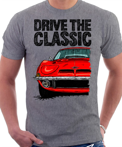 Drive The Classic Opel GT. T-shirt in Heather Grey Colour