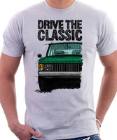 Drive The Classic Range Rover Classic Early Model. T-shirt in White Color.