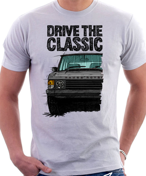 Drive The Classic Range Rover Classic Late Model. T-shirt in White Color.