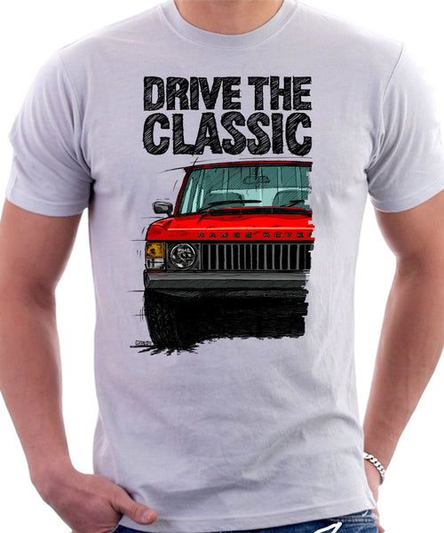 Drive The Classic Range Rover Classic Mid Model. T-shirt in White Color.