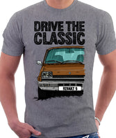 Drive The Classic Renault 5 Early Model. T-shirt in Heather Grey Colour