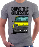 Drive The Classic Renault 5 GTL Early Model. T-shirt in Heather Grey Color