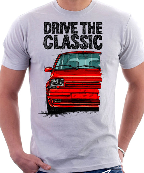 Drive The Classic Renault 5 GT Turbo. T-shirt in White Color