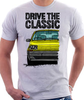 Drive The Classic Renault 5 Late Model. T-shirt in White Color