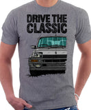 Drive The Classic Renault 5 Turbo (Black Bumper). T-shirt in Heather Grey Color