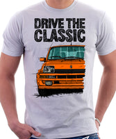 Drive The Classic Renault 5 Turbo ( Colour Bumper). T-shirt in White Color