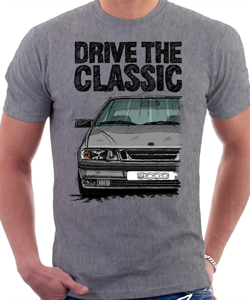 Drive The Classic Saab 9000 Aero. T-shirt in Heather Grey Colour
