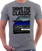 Drive The Classic Saab 9000 Early Model. T-shirt in Heather Grey Colour