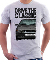 Drive The Classic Saab 9000 Early Model. T-shirt in White Colou