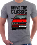 Drive The Classic Saab 9000 Late Model. T-shirt in Heather Grey Colour