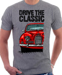 Drive The Classic Saab 96 1960 Model. T-shirt in Heather Grey Colour