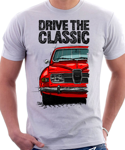 Drive The Classic Saab 96 1974 Model. T-shirt in White Colour