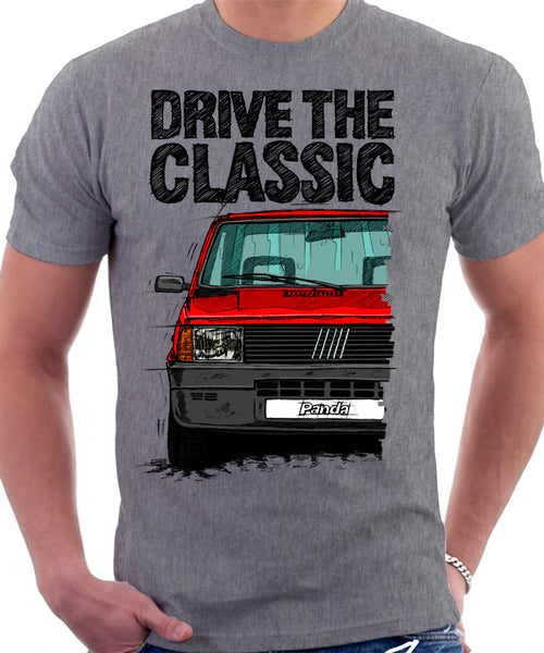 Drive The Classic Fiat Panda Late Model. T-shirt in Heather Grey Colour