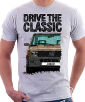 Drive The Classic Fiat Panda Late Model. T-shirt in White Colour