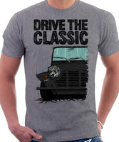 Drive The Classic Mini Moke Early Model. T-shirt in Heather Grey Colour