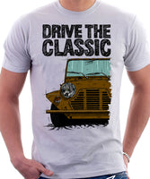 Drive The Classic Mini Moke Early Model. T-shirt in White Colour