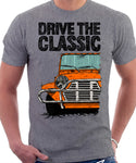 Drive The Classic Mini Moke Late Model. T-shirt in Heather Grey Colour