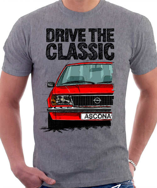 Drive The Classic Opel Ascona B Early Model. T-shirt in Heather Grey Colour