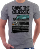 Drive The Classic Volvo 240 80s Model. T-shirt in Heather Grey Colour
