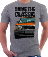 Drive The Classic Volvo 240 90s Model. T-shirt in Heather Grey Colour