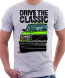 Drive The Classic Volvo 240 90s Model. T-shirt in White Colour