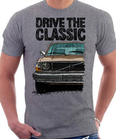 Drive The Classic Volvo 240 Mid 70s Model. T-shirt in Heather Grey Colour