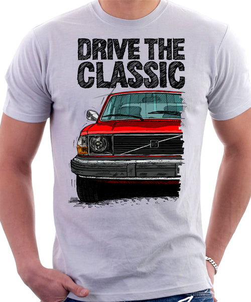 Drive The Classic Volvo 240 Mid 70s Model. T-shirt in White Colour