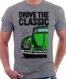 Drive The Classic VW Type 1 Beetle 60's Model . T-shirt in Heather Grey Colour