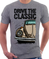 Drive The Classic VW Type 1 Beetle 70's Model . T-shirt in Heather Grey Colour