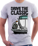 Drive The Classic VW Type 1 Beetle 70's Model . T-shirt in White Colour
