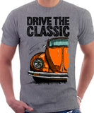 Drive The Classic VW Type 1 Beetle Latest Model . T-shirt in Heather Grey Colour