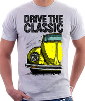 Drive The Classic VW Type 1 Beetle Latest Model . T-shirt in White Colour