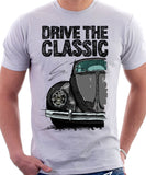 Drive The Classic VW Type 1 Beetle Early Model (Oval) . T-shirt in White Colour
