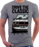 Drive The Classic VW Golf Mk1 GTI Late Model. T-shirt in Heather Grey Colour