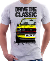 Drive The Classic VW Golf Mk1 GTI Late Model. T-shirt in White Colour