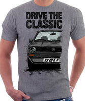Drive The Classic VW Golf Mk1 Early Model. T-shirt in Heather Grey Colour