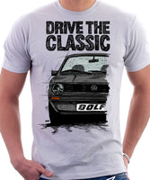 Drive The Classic VW Golf Mk1 Early Model. T-shirt in White Colour