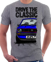 Drive The Classic VW Golf Mk1 GTI Early Model. T-shirt in Heather Grey Colour