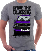 Drive The Classic VW Golf Mk1 Late Model. T-shirt in Heather Grey Colour