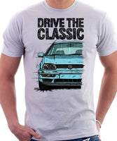 Drive The Classic VW Golf Mk3 Colour Bumper. T-shirt in White Color.