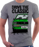 Drive The Classic VW Rabbit (Golf) Mk1 Early Model. T-shirt in Heather Grey Colour