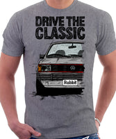 Drive The Classic VW Rabbit (Golf) Mk1 GTI Late Model. T-shirt in Heather Grey Colour