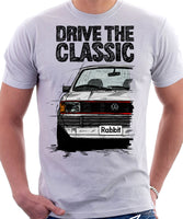 Drive The Classic VW Rabbit (Golf) Mk1 GTI Late Model. T-shirt in White Colour